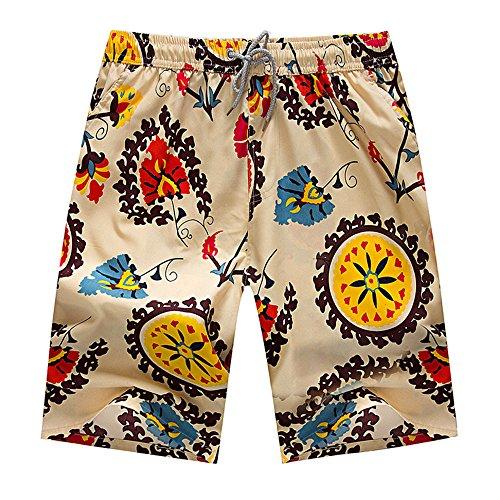Shorts Herren, BURFLY Mode Mens Gedruckte Tasche Shorts Casual Swim Trunks Quick Dry Sommer Surfing Running Swimming Beachshort (L, Beige)