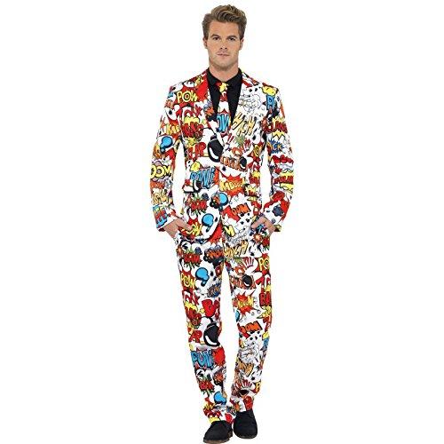 Smiffys, Herren Comic Strip Anzug Kostüm, Jacke, Hose und Krawatte, Größe: M, 43526