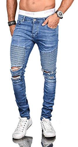Stylische Herren Röhrenjeans Slim Fit Jeans Hose Biker Washed Stretch [B524 - W29 L32]