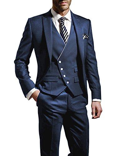 Suit Me Herren 3-Teilig Anzug Slim Fit Hochzeiten Party Smoking Anzuege Sakko,Weste,Hose Blau M