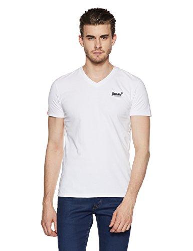 Superdry Herren T-Shirt M10001NS, Bianco (Optic), Large