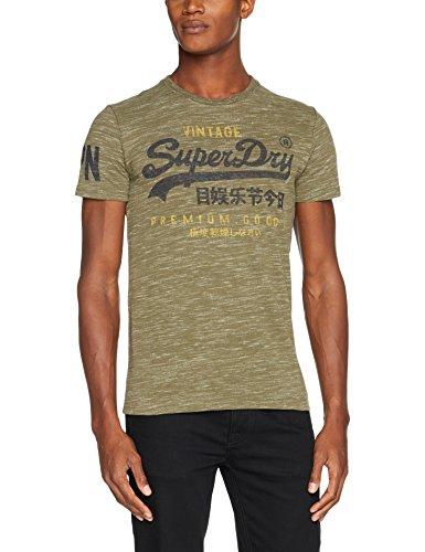 Superdry Herren T-Shirt M10002PP, Verde (Woodland Space Dye Grit), X-Large