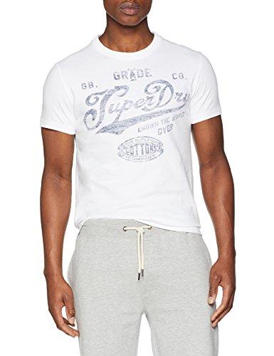 Superdry Herren T-Shirt M10006HP, Bianco (Optic), Large