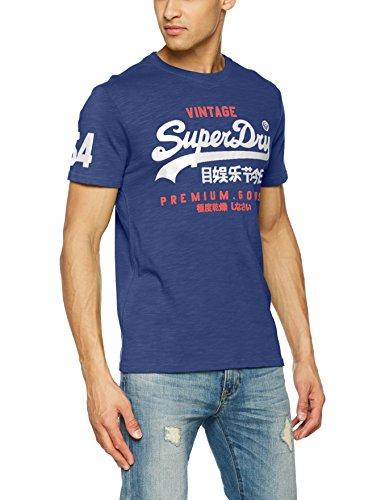 Superdry Herren T-Shirt M10006PQ, Blu (Frontier Blue), Medium (Herstellergröße:Medium)