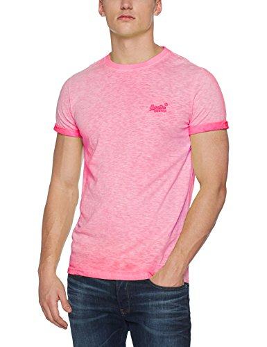 Superdry Herren T-Shirt M10006TQ, Rosa (Deep Pop Pink), Large (Herstellergröße:L