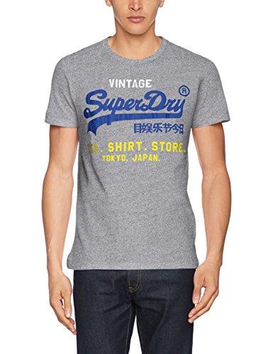 Superdry Herren T-Shirt M10009pp, Grau (Peppered Grey Grit), L