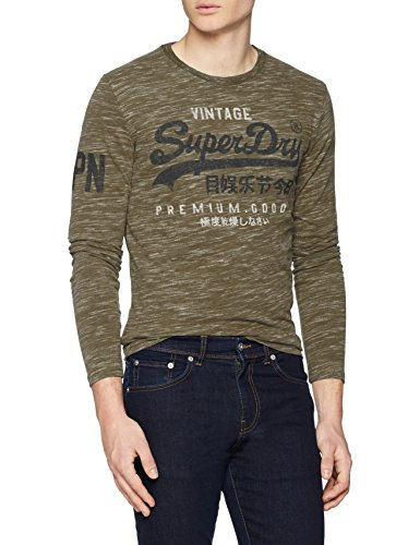 Superdry Herren T-Shirt M60022PP, Verde (Woodland Space Dye Grit), Large