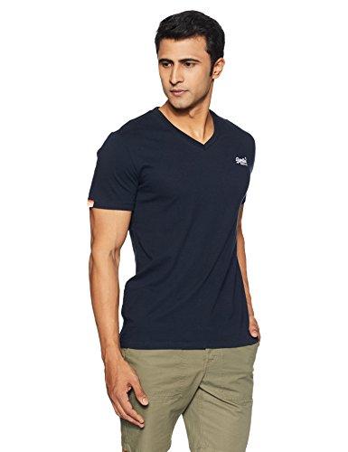 Superdry Herren T-Shirt Orange Label Vintage EMB Vee T, Blau (Eclipse Navy98T), M