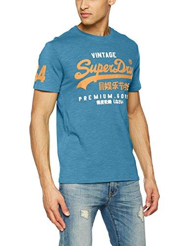 Superdry Herren T-Shirt Premium Goods Duo Tee, Turchese (Frontier Teal), XX-Large