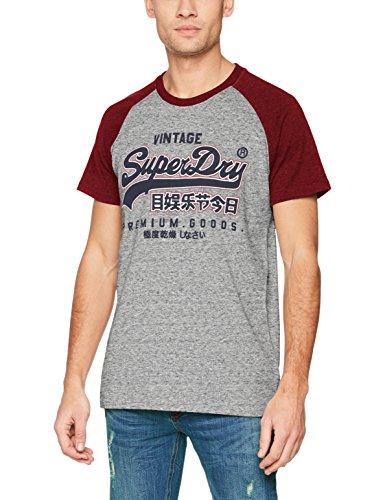 Superdry Herren T-Shirt Premium Goods Raglan Tee, Grigio (Chrome Grey Grit/Rust Red Grit), Large