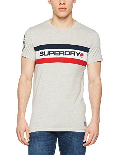 Superdry Herren T-Shirt Trophy Chest Band Tee, Grigio (Super Dry Stadium Grey Grindle), Small