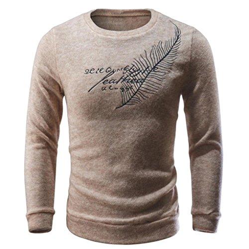 Sweatshirt Herren Sannysis Männer Herbst Winter Pullover Stricken Sweater Tops Bluse (M, Beige)