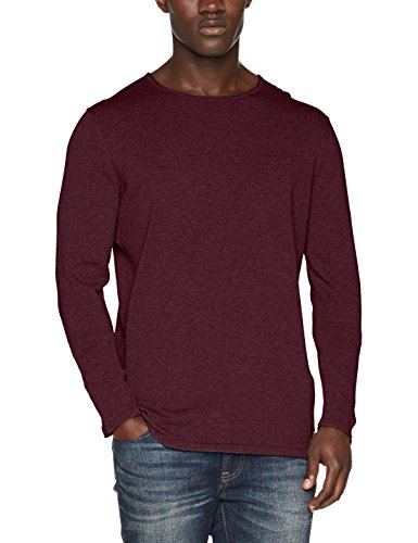 TOM TAILOR Denim Herren Pullover Mélange Crew w.Rolled Edges, Rot (Deep Burgundy Red 4257), XX-Large