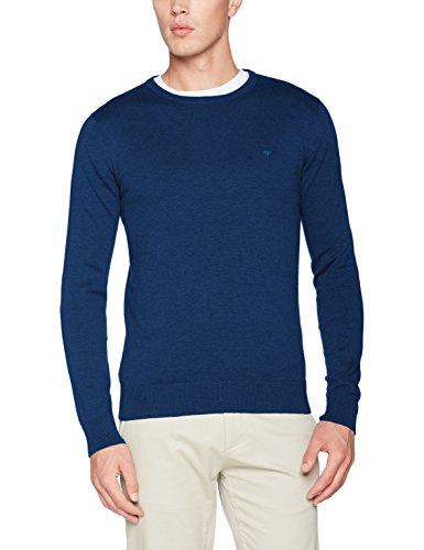 TOM TAILOR Herren Basic Rundhals Pullover mit Langarm, Blau (Mysterious Blue Melange 6355), XXX-Large