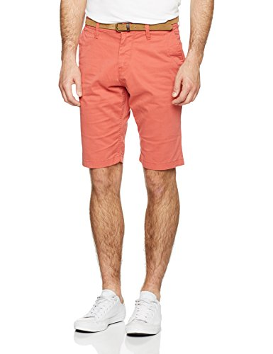 TOM TAILOR Herren Shorts Chino Bermuda with Belt, Rot (Normal Red 4273), W32