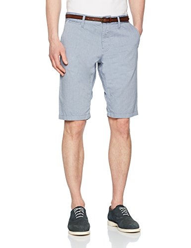 TOM TAILOR Herren Structure Chino Short, Jim, Blau (Dark Denim Blue 6758), W34