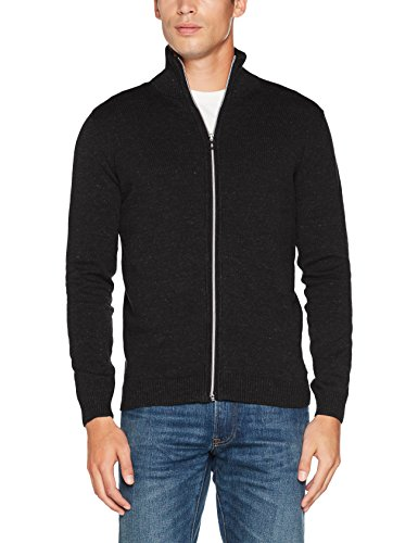 TOM TAILOR Herren Sweatshirt Basic Stand-Up Jacket, Grau (Black Grey Melange 2572), XXX-Large