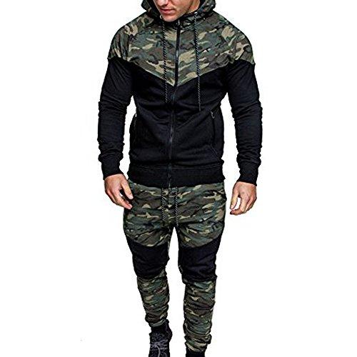 Top + Hosen Sets Herren, Sunday Hoodie Männer Herbst Winter Sport Anzug Sweatshirt Tops Jacke Mantel Outwear Camouflage Schwarz Spleißen Kordelzug Hose Trainingsanzug Tarnung Suits (M, Camouflage)