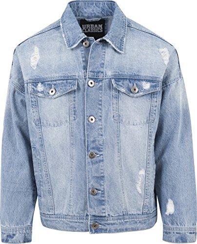 Urban Classics TB1438 Herren und Jungen Jeansjacke Ripped Denim Jacket, Oversize destroyed Look Jacke, bleached, Größe L