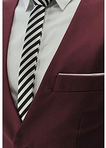 YaoDgFa Herren Weste Anzug + Fliege Smoking Sakko Anzugweste Herrenweste Herrenanzug slim fit Hochzeit feierlich Elegant- Gr. XX-Large, Wein Rot