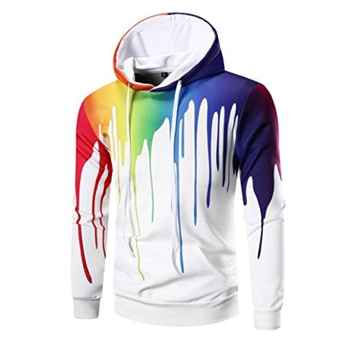 YunYoud Mode Herren Kapuzenpullover Lange Ärmel Sweatshirt 3D Digitaldruck Tops Warm Herbst Mantel Kausal Outwear Slim Fit Pullover Mit Tasche (L, Weiß)