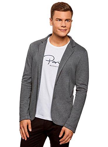 oodji Ultra Herren Jersey-Blazer mit Seitentaschen, Grau, DE 52-54 / L
