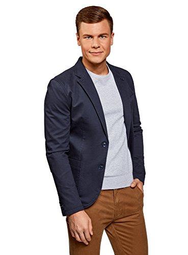 oodji Ultra Herren Taillierter Blazer mit Seitentaschen, Blau, DE 48 / S