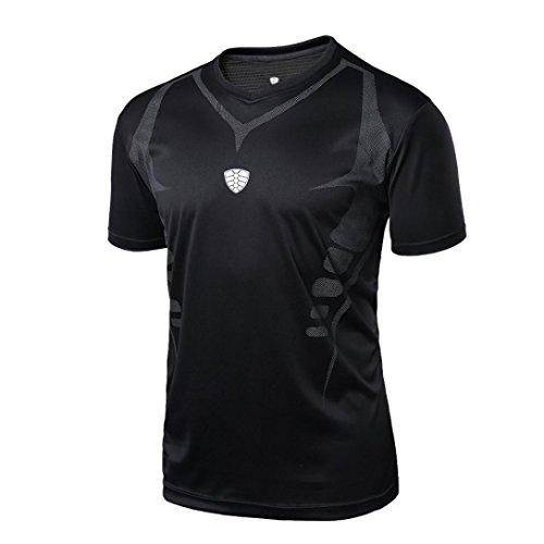 Fitness T-Shirt Herren, FEITONG Funktionelle Sport Bekleidung - Geeignet Für Workout, Training - Slim Fit Shirt Quick Dry (XXL, Schwarz)