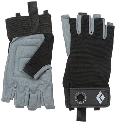 Black Diamond Crag Half-Finger Handschuhe/Atmungsaktiver Kletterhandschuh mit Klettverschluss sowohl zum Sichern als auch zum Alpinklettern/Black, Größe: L