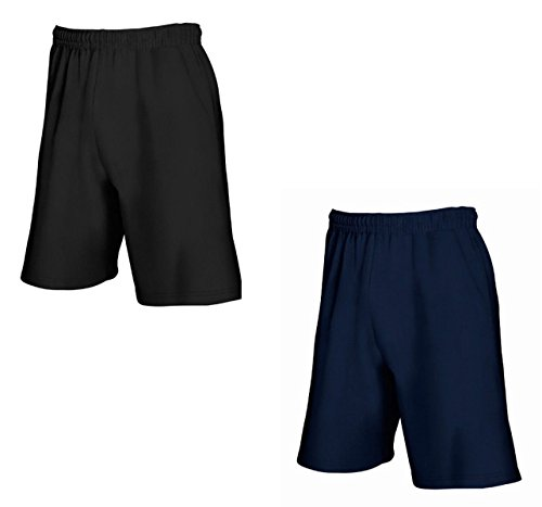 2er-Pack Fruit of The Loom Herren Kurze Sporthosen Jogginghosen Lightweight Shorts (L, Schwarz & Navy)