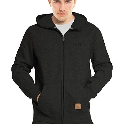 urban air | Street Classics | Zip Hoodie, Sweatjacke, Pullover-Jacke | Damen, Herren, Unisex | für Fitness und Freizeit | grau oder schwarz | S, M oder L (S, Street Classics schwarz)