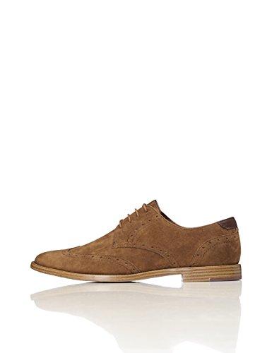 FIND Derby Schuhe Herren mit Brogue-Design, rauem Kunstleder und Lochverzierungen, Braun (Tan), 46 EU