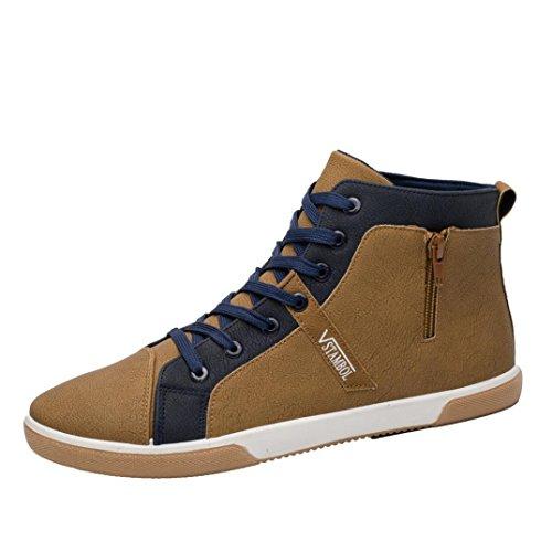Sunnywill Sneaker Sneaker Herren Zipper Schuhe Mode High Top Herren Freizeitschuhe Mann Schnürschuhe Schuhe Turnschuhe Freizeitschuhe (Kahai, 42)