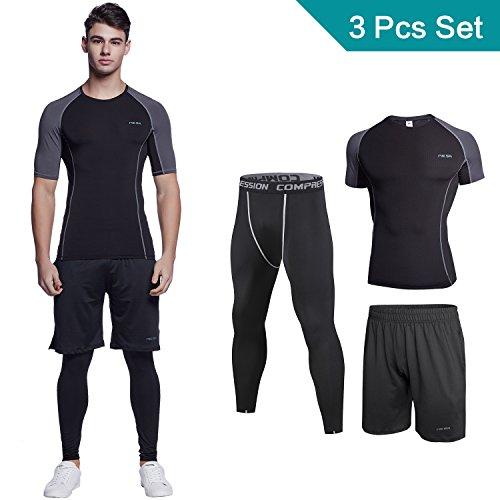Sportbekleidung 3 stücke Herren,Niksa Training T-Shirt / Fitness Hose / Sport Leggings Fashion Sportswear für Gym, Outfit,Yoga, Radsport Gr. S-XXL(Short Sleeve(153519),M)