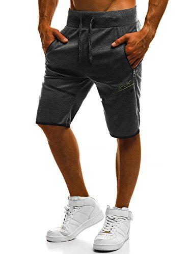 OZONEE Herren Hose Shorts Kurzhose Sporthose Fitness Freizeitshorts Jogginghose Jogg RF/80165 DUNKELGRAU L
