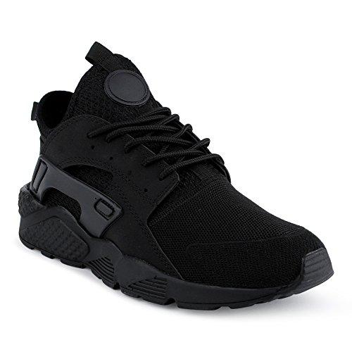 FiveSix Herren Damen Sneaker Sportschuhe Laufschuhe Freizeitschuhe Textilschuhe Camouflage Schnürschuhe Low-Top Unisex Schuhe Schwarz-M EU 41