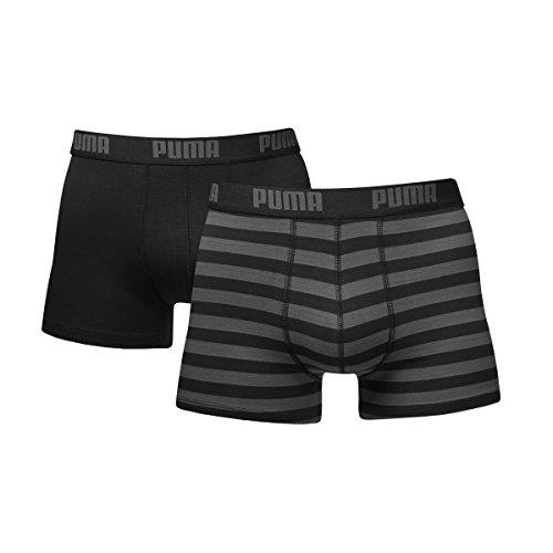 Puma Herren Striped Boxer 2er Pack, Schwarz, M, 651001001