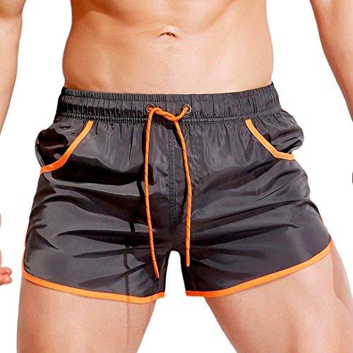 QinMM Männer Breathable Badehose Hosen Badebekleidung Shorts Slim Wear Bikini Badeanzug (Asian Size:M, Grau)
