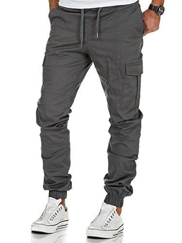 Amaci&Sons Herren Stretch Jogger Cargo Chino Jeans Hose 7006 Dunkelgrau W31