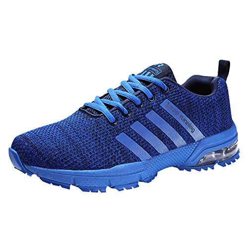 Damen Herren Laufschuhe Sportschuhe Turnschuhe Trainers Running Fitness Atmungsaktiv Sneakers(Blau,Größe36)