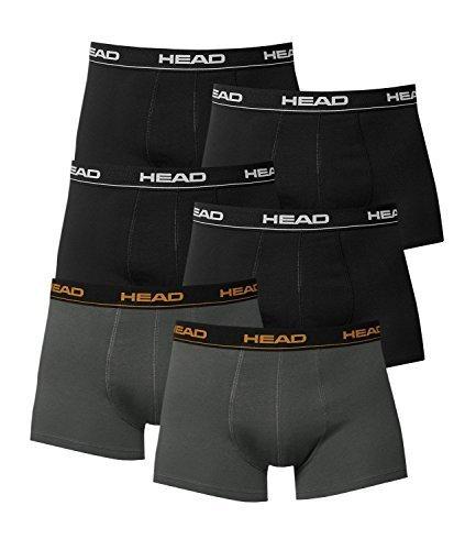 HEAD Herren Boxershorts 841001001 6er Pack, Wäschegröße:M;Artikel:4x Black / 2x Dark Shadow