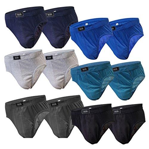 SGS 6-12 Stück Slips Herren Pack Sportslip für Männer Unterwäsche für Herren Baumwolle Unterhosen für Männer als Farbmix (M, 12.Stück 580)