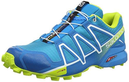 Salomon Herren Speedcross 4 Trailrunning-Schuhe, Blau (Hawaiian Surf/Acid Lime/White), Gr. 42 2/3
