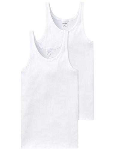 Schiesser Herren Unterhemd 2 er Pack 205144-100, Gr. 6 (L), Weiß (100-weiss)