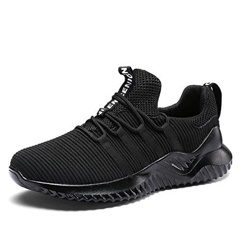 UBFEN Herren Schuhe Laufschuhe Turnschuhe Sportschuhe Freizeit Atmungsaktiv Fitness Gym Sneakers Casual EU 45 H Schwarz