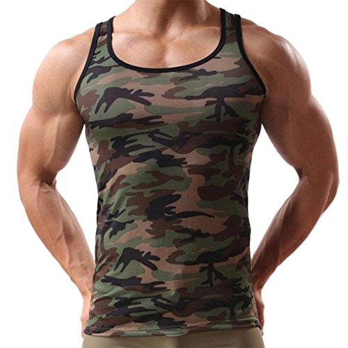 Ursing Camouflage Tank Top Herren Muskelshirt Sport Outdoor Gym Fitness & Bodybuilding Muscle Shirt Tanktop Unterhemd Achselshirt Casual Vest Shirts Trainingswest Männer Sommer Tops (M, Tarnung)