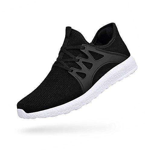 ZOCAVIA Herren Sportschuhe Laufschuhe Sneaker Atmungsaktiv Leichte Wanderschuhe Schwarz-Weiß 47