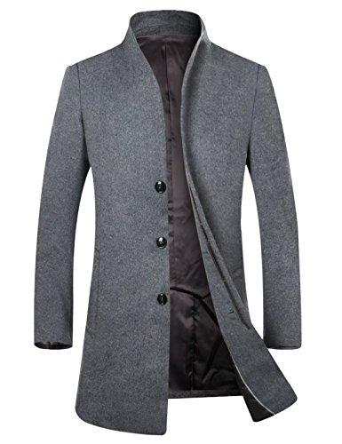 APTRO Herren Wintermantel Reine SchurwolleLange Mantel Business Mantel (Herbst und Frühwinter)-Grau M
