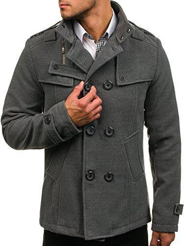 BOLF Herren Mantel mit modische Steppeinsätze Herrenmode Knopfleiste eleganter Look Coat PPM 8857 Grau L [4D4]