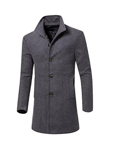 Herren Winter Slim Fit Mantel Business Überzieher Schlank Lange Windbreaker Jacken Grau L